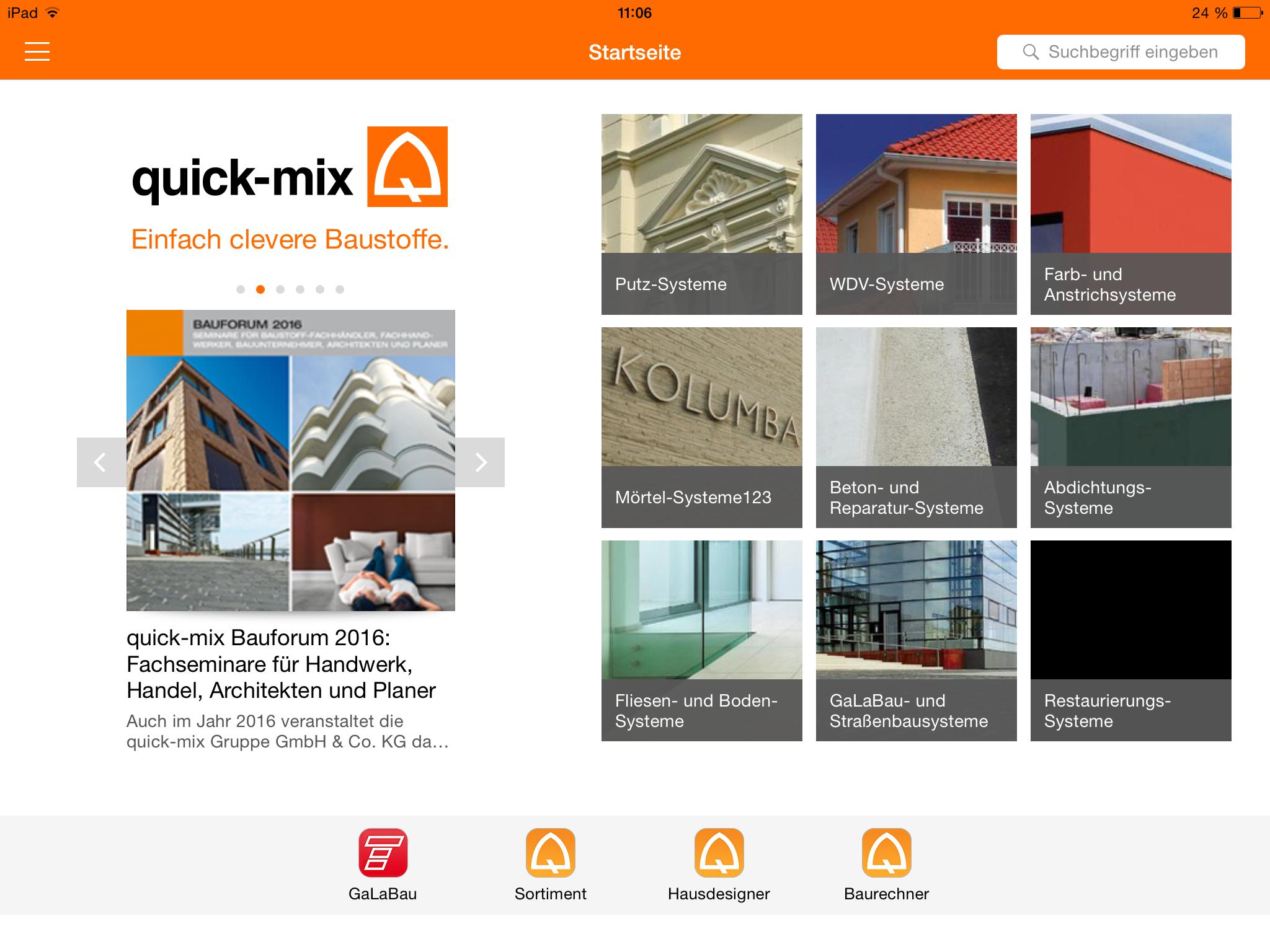 quickmix_startscreen